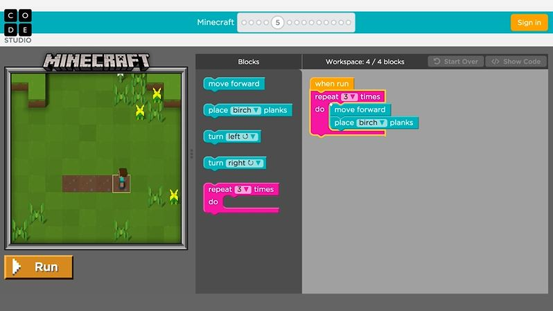 Code Org Minecraft Hour Of Code 5