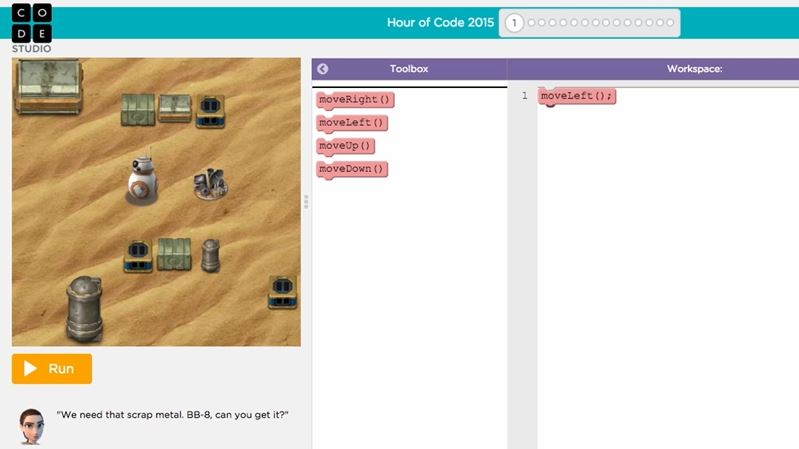 Code org - Star Wars: Building a Galaxy With Code